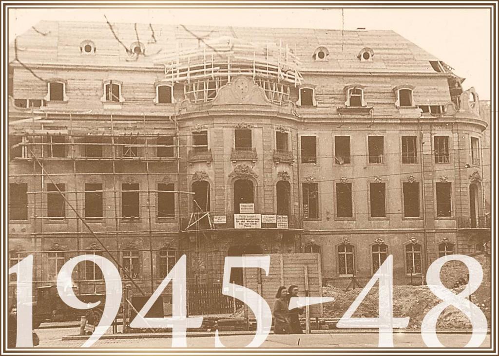 1945-48 kurz vor Ende des 2. Weltkriegs zerstört, bis 1948 wiederaufgebaut