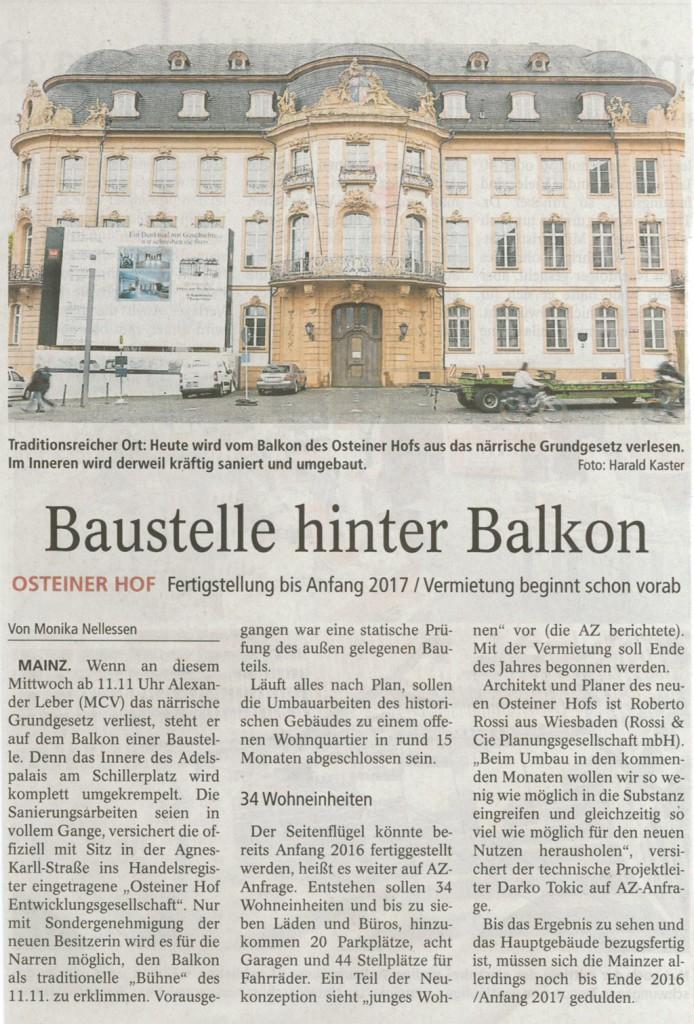 Mainzer Allgemeine Zeitung vom 15. November 2015
