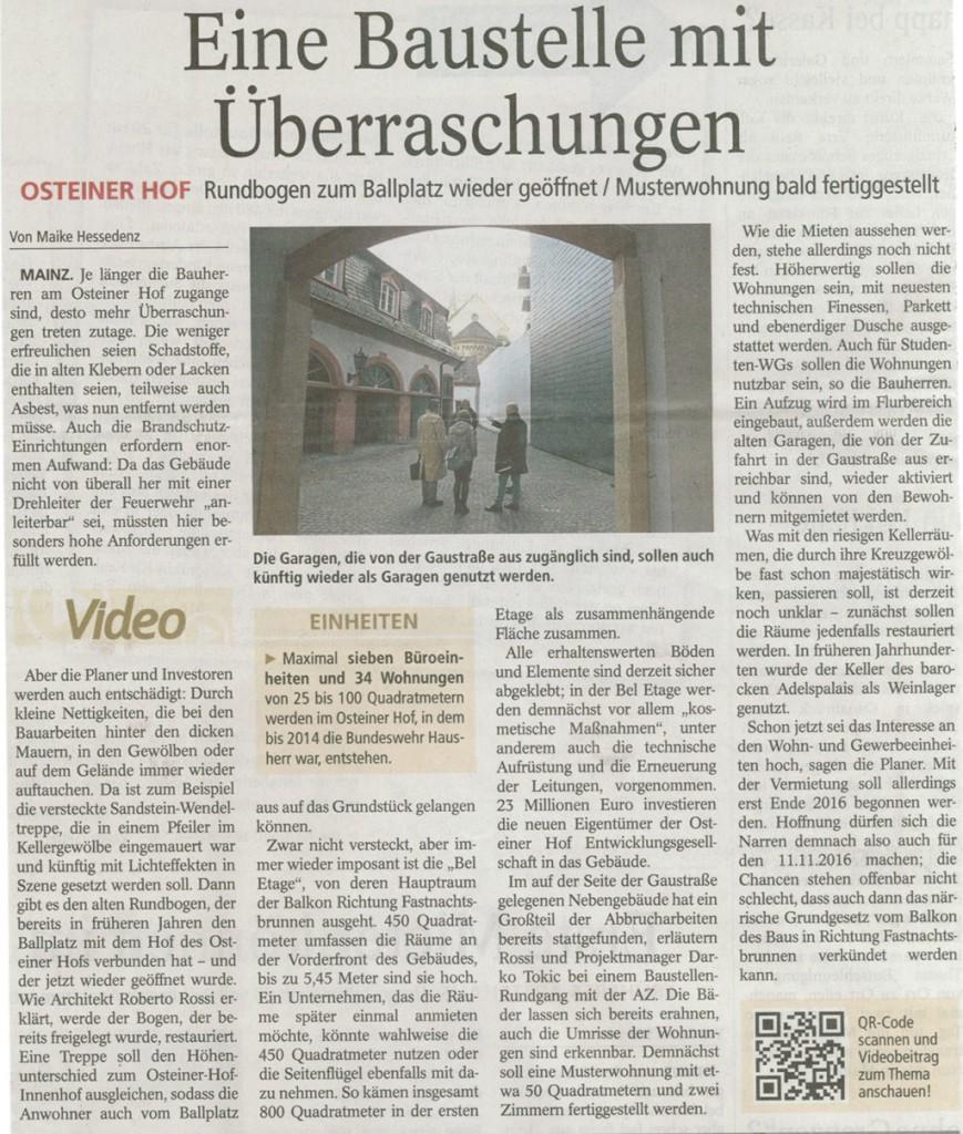 Mainzer Allgemeine Zeitung vom 4. Januar 2016