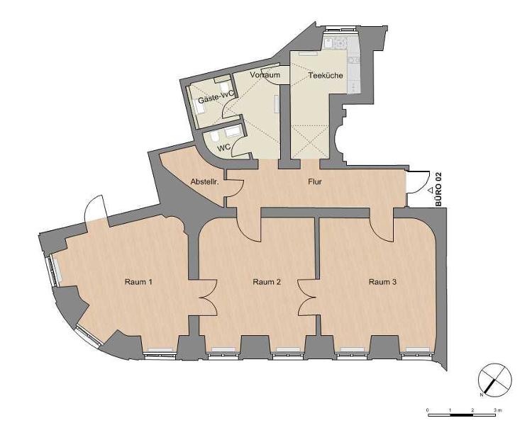 Hauptgebäude EG, Büro 02 Grundriss