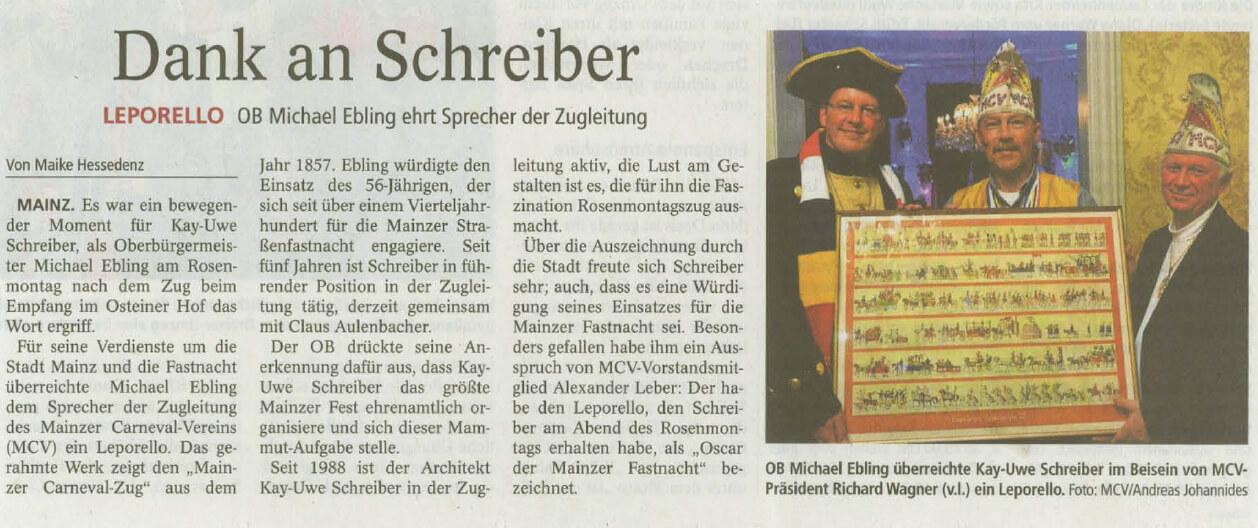 Mainzer Allgemeine Zeitung vom 18. Februar 2015